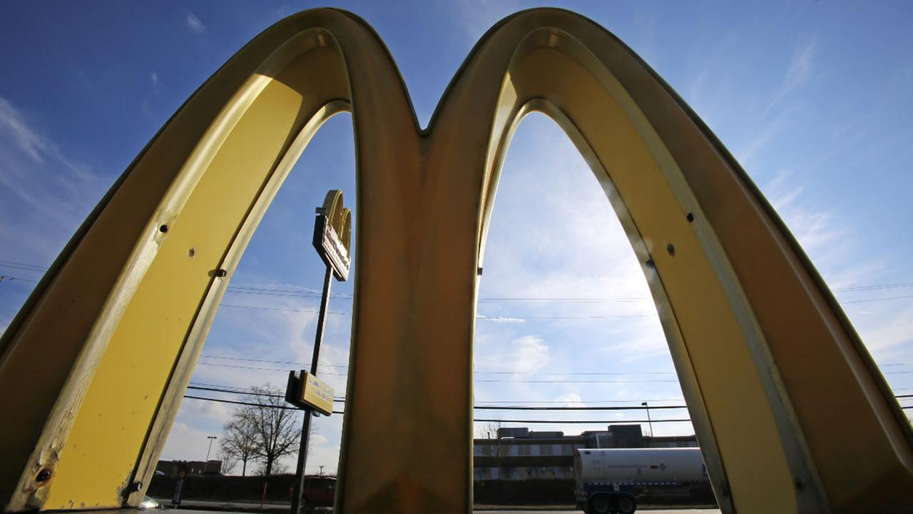 This Wednesday, Feb. 22, 2017, photo, shows the golden arches at sunset at a McDonalds restaurant in Robinson Township, Pa.