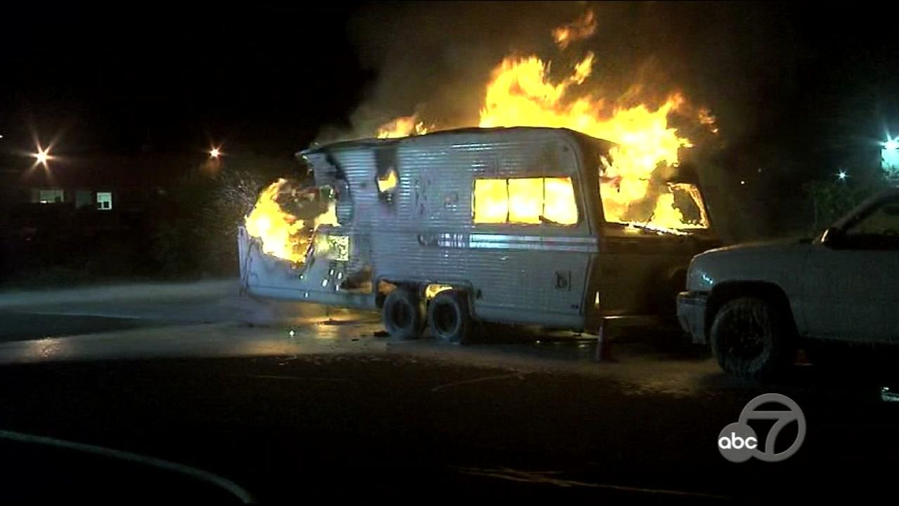 Firefighters respond to an RV fire in Pacheco, Calif. on Monday, March 20, 2017.