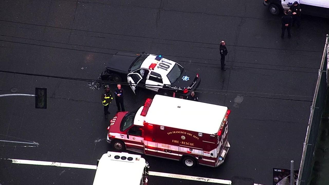 Aerial footage shows a crash involving San Francisco police on March, 20, 2017.