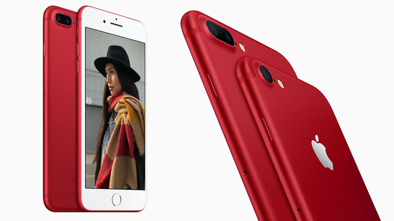 Apple unveiled new iPhones in partnership with (RED) in Cupertino, Calif. on Tuesday, March 2, 2017.