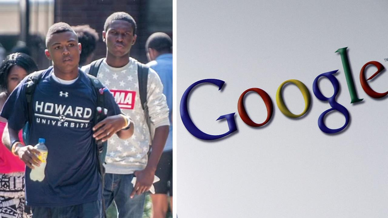 Howard University students and the Google logo is seen in this undated image.