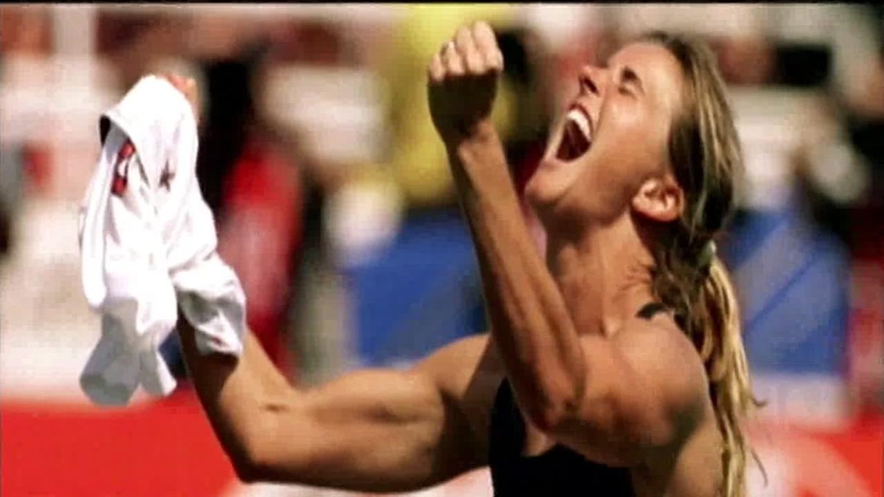 Brandi Chastain celebrates her World Cup goal on July 10, 1999 in Pasadena, Calif.