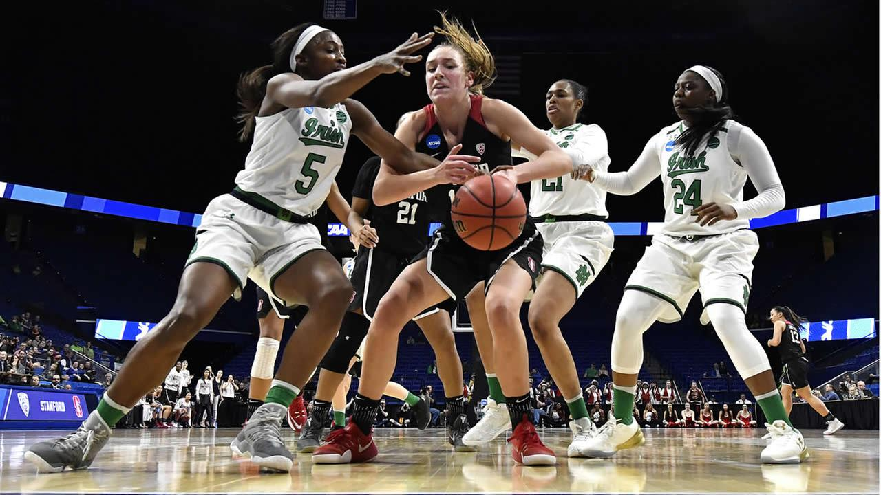 Stanfords Alanna Smith battles Notre Dame during a regional final of the NCAA womens college basketball tournament on Sunday, March. 26, 2017, in Lexington, Ky. (AP Photo)
