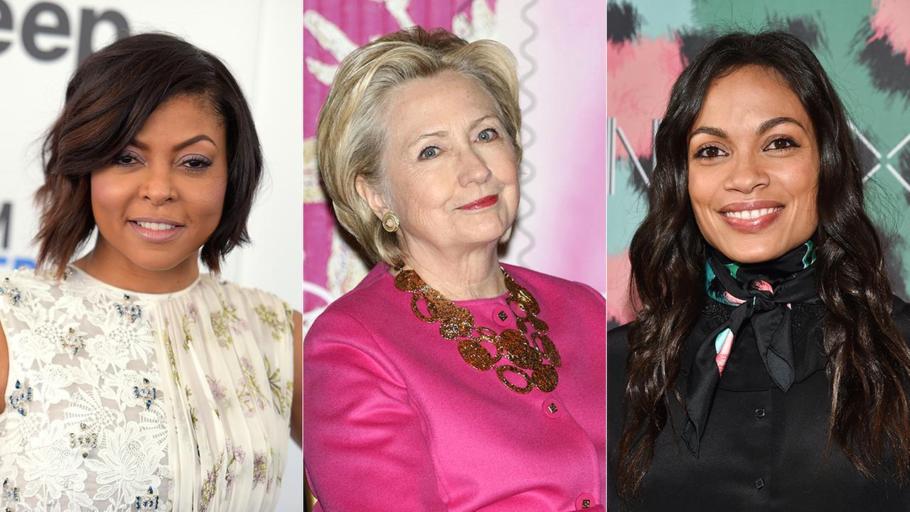 FILE -- (Left to right) Taraji P. Henson, Hillary Clinton and Rosario Dawson.