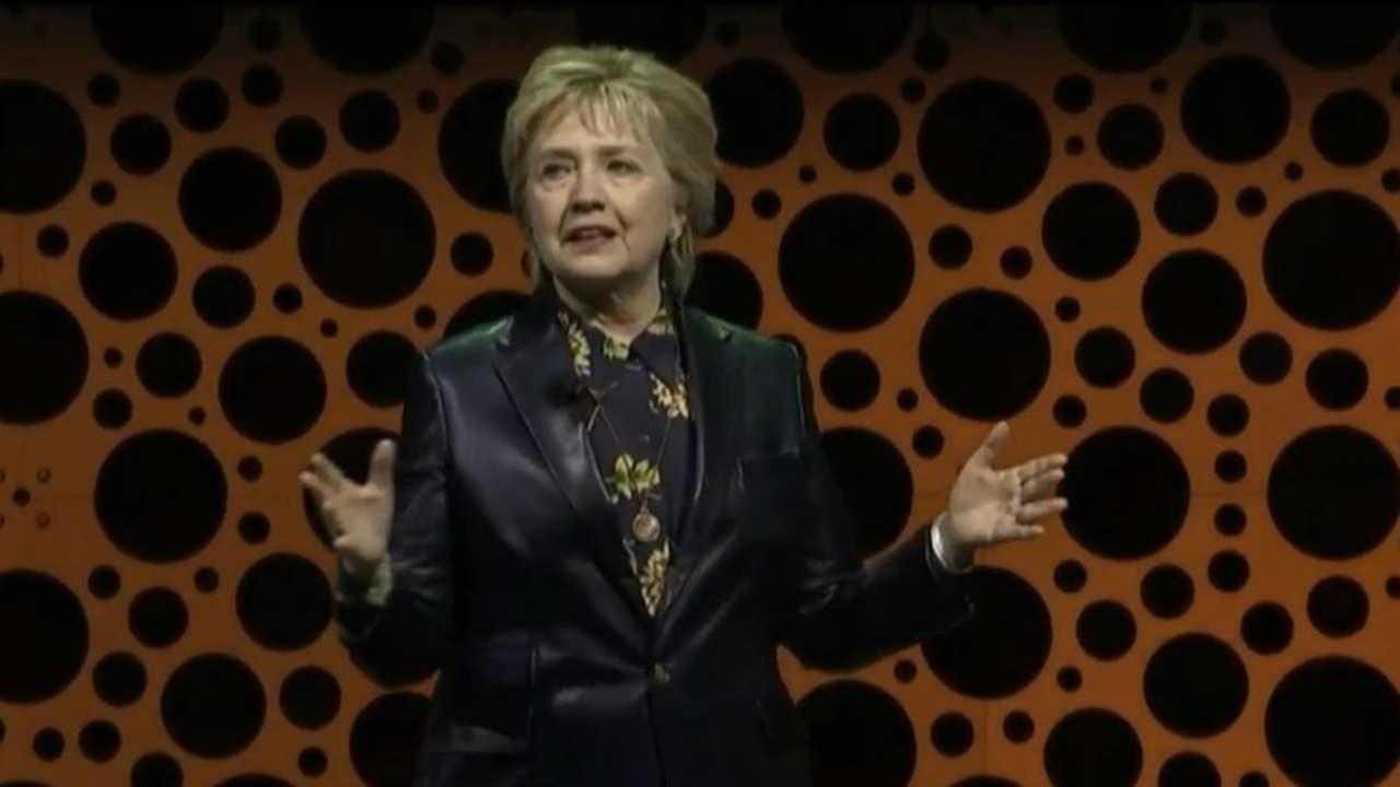 Hillary Clinton is seen speaking at the Professional BusinessWomen of California Conference in San Francisco on March 28, 2017.