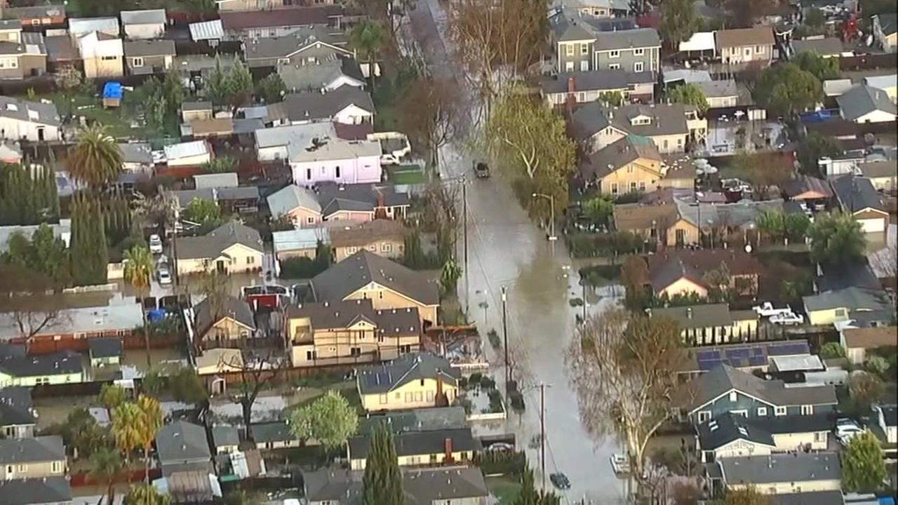 This is an undated aerial image of flooding in San Jose, Calif.