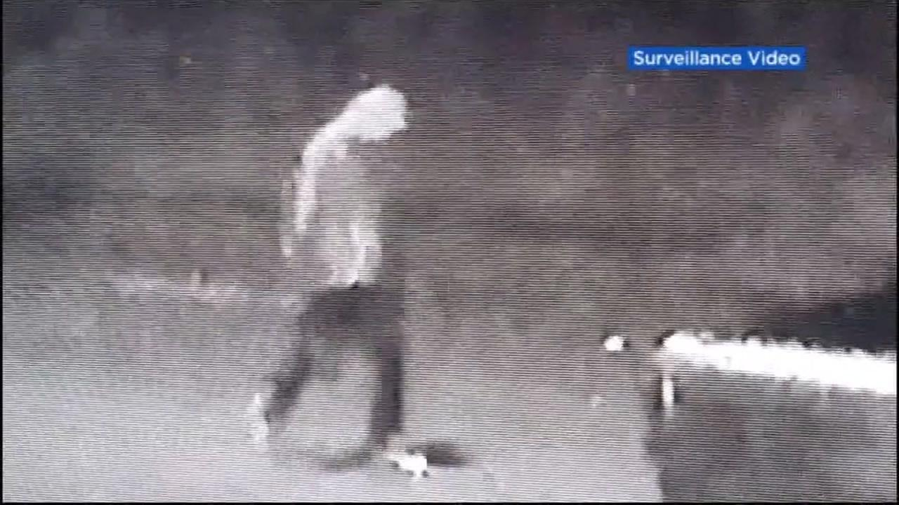This is an undated image from surveillance footage of a possible tire slashing suspect in Concord, Calif.