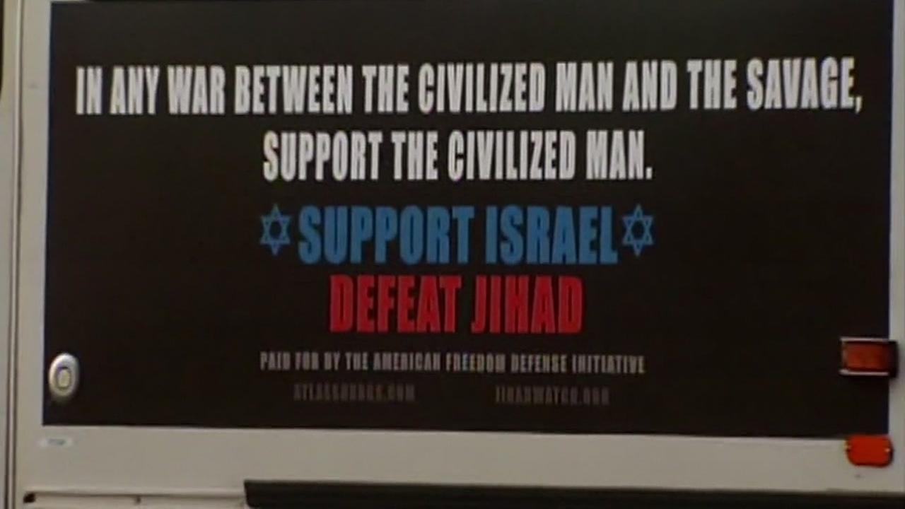 SFMTA is implementing a policy which prohibits political ads like this one, pictured inside of a Muni bus in San Francisco on Tuesday, April 4, 2017.
