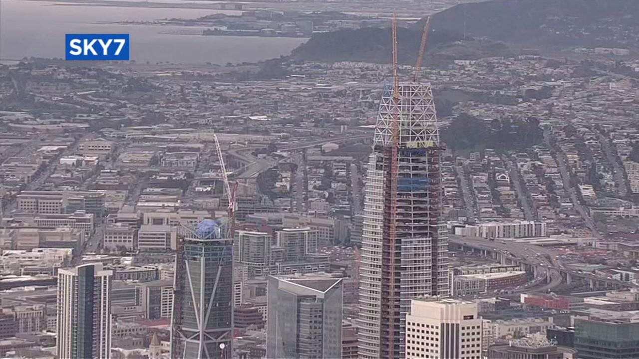 Sky7 flew over the 61-story Salesforce Tower in San Francisco on Thursday, April 6, 2017.
