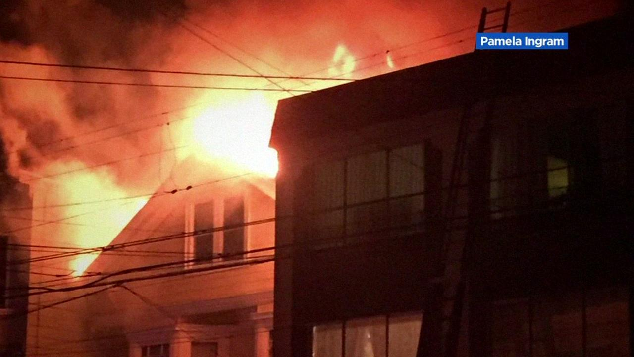 Several people were injured in a 3-alarm fire in San Franciscos Richmond District on Friday, April 7, 2017.