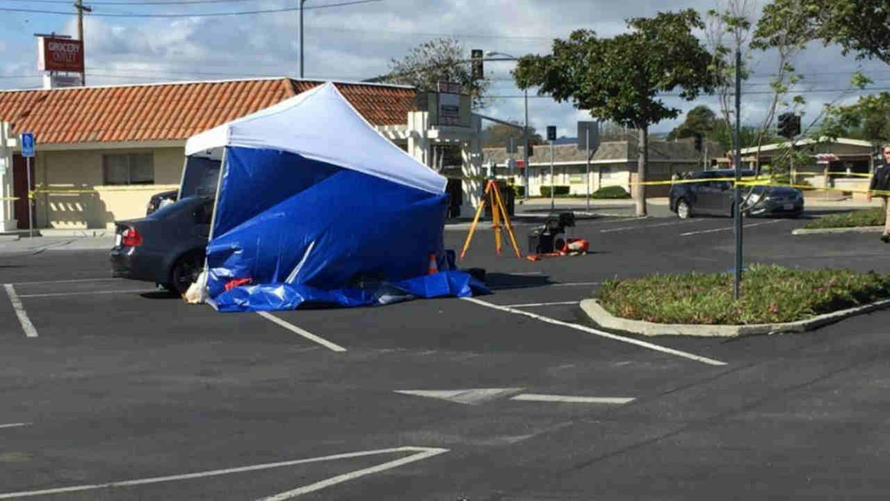 The aftermath of a deadly shooting is seen in a parking lot in Newark, Calif. on Saturday April 8, 2017.