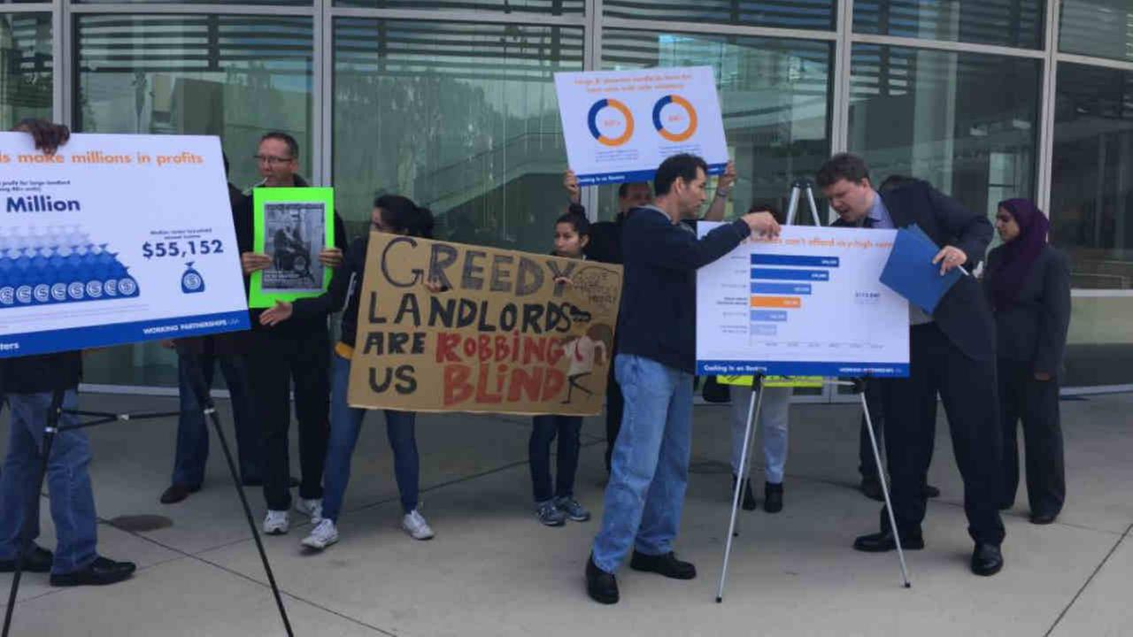 Community leaders held a protest on no-cause evictions in San Jose, Calif. on Wednesday, April 12, 2017.