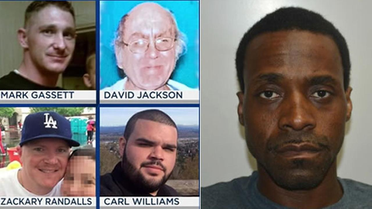 This split photo shows the victims of the fatal shootings in Fresno, Calif (left) and the suspect Kori Ali Muhammad (right).
