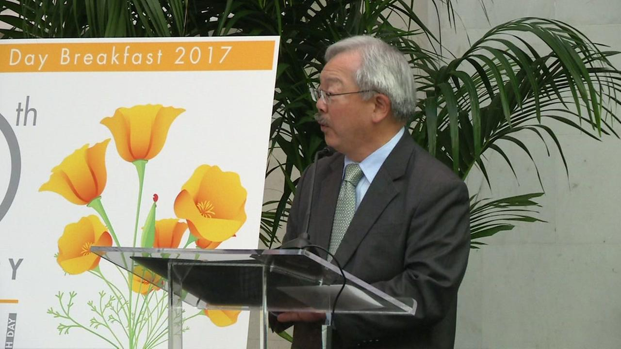 Mayor Ed Lee speaks at an Earth Day event in San Francisco on Thursday, April 20, 2017.