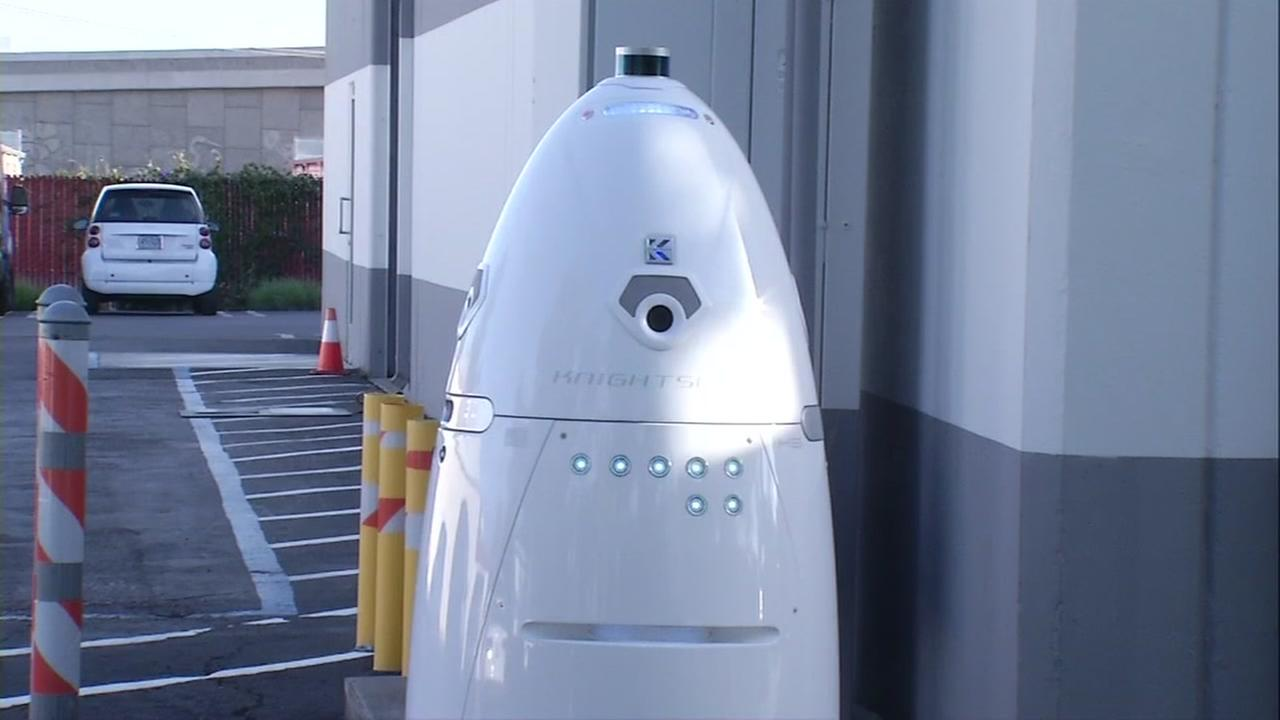 A security robot named K5 is seen in Mountain View, Calif. on Tuesday, April 25, 2017.