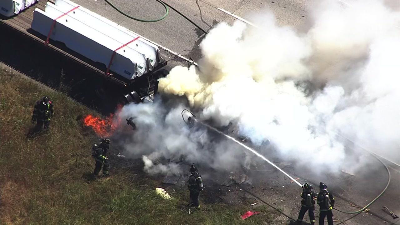 Crews battled a big-rig fire on Interstate 580 in Castro Valley, Calif. on Monday, May 1, 2017.
