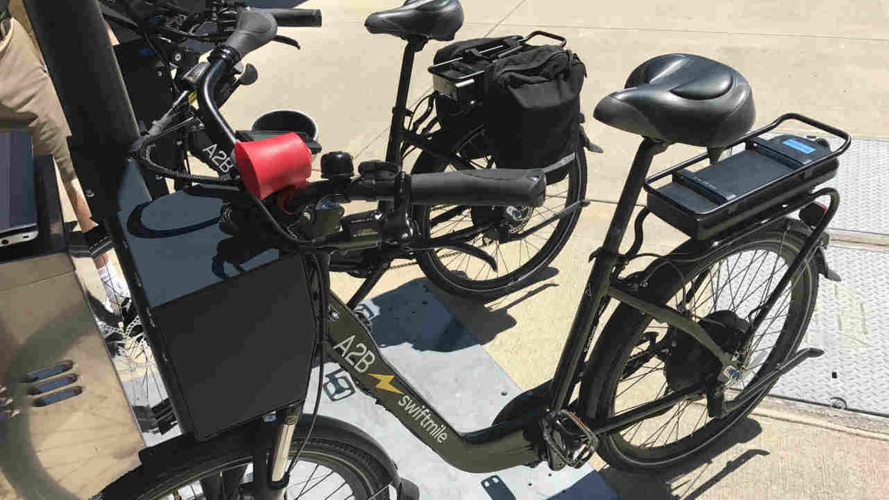 A Swiftmile electric bicycle is seen in Palo Alto, Calif. on Tuesday, May 2, 2017.