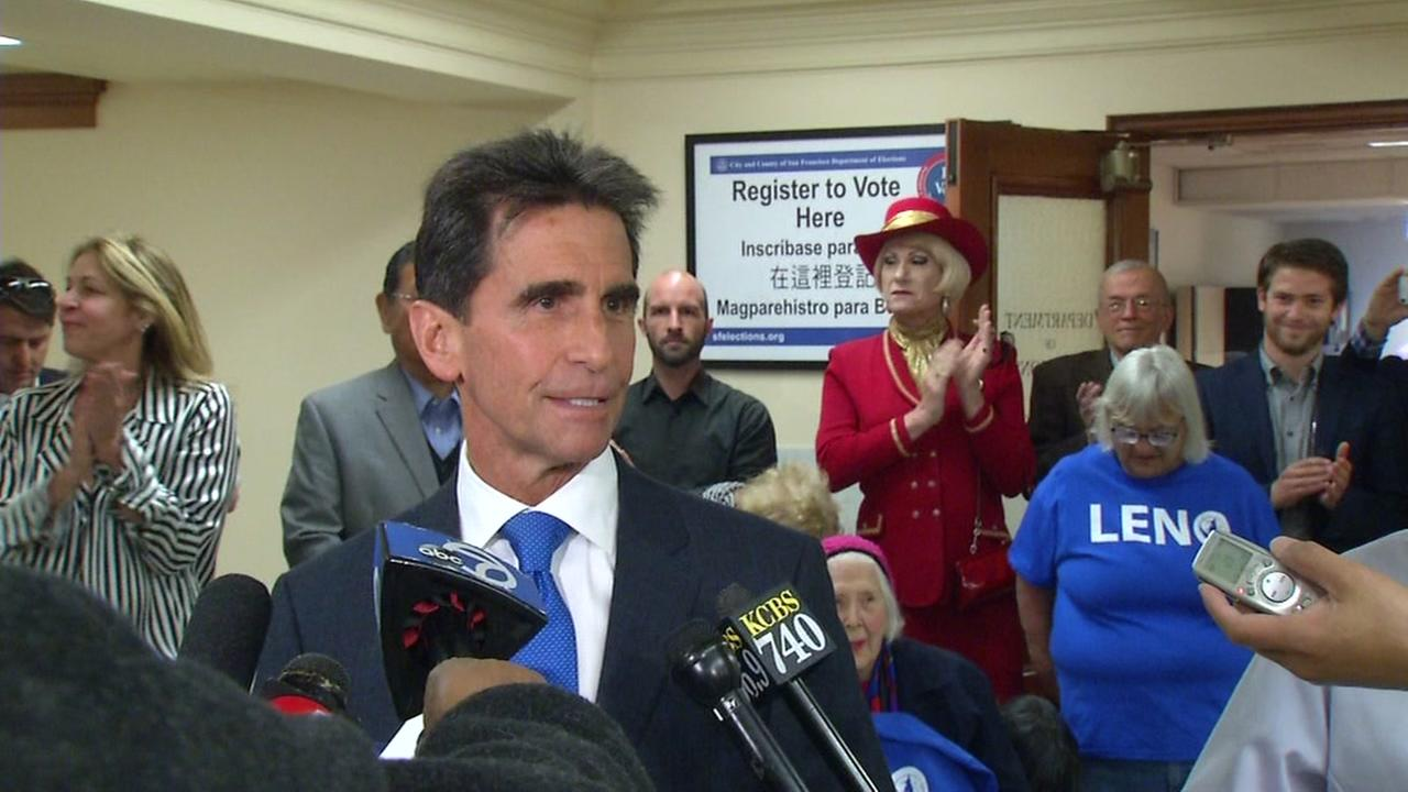 San Francisco mayoral candidate Mark Leno signs papers to make his candidacy official on Thursday, May 5, 2017.
