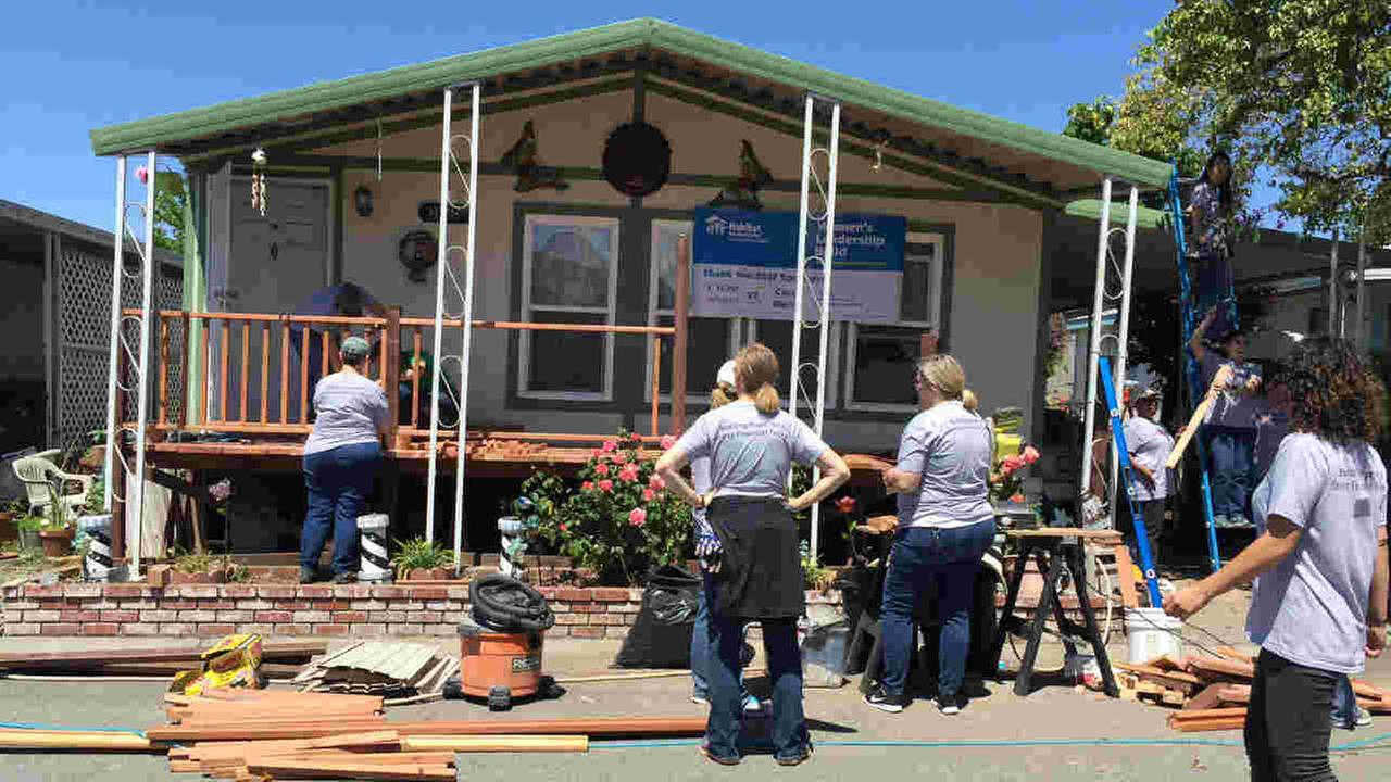 Volunteers are seen repairing a home in San Jose, Calif. on Friday, May 5, 2017.