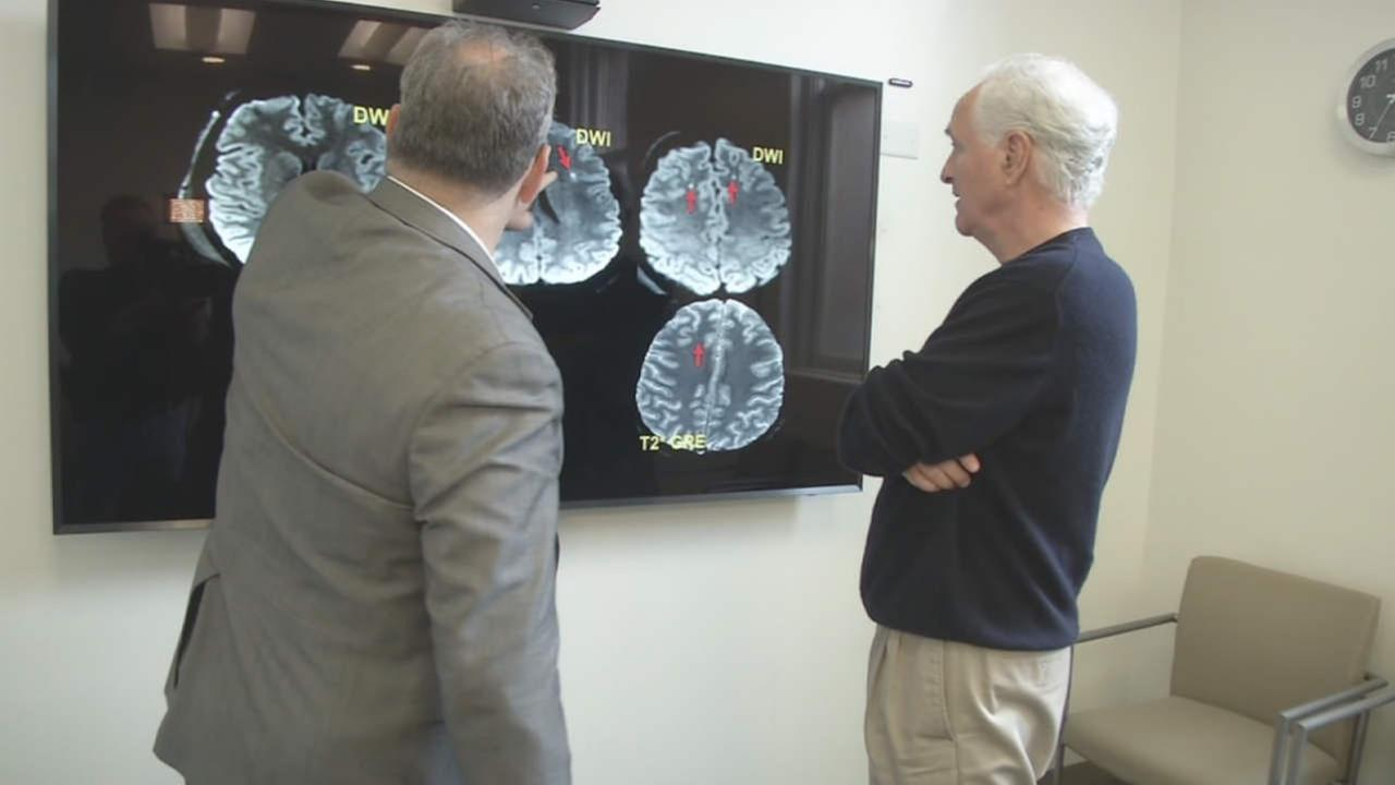 ABC7s Mike Shumann speaks with a doctor about concussions in this undated image.