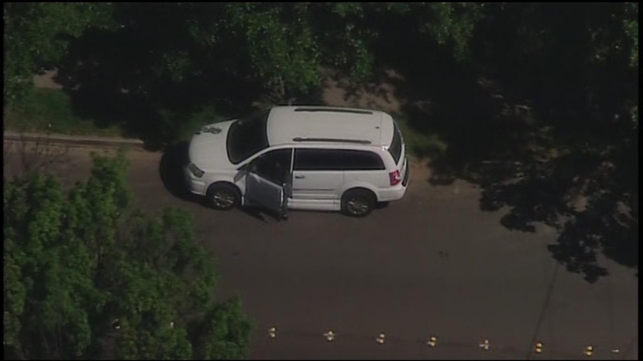 Sky7 was over a wheelchair-accessible van that has been found in Fremont, Calif. on Monday, May 8, 2017.