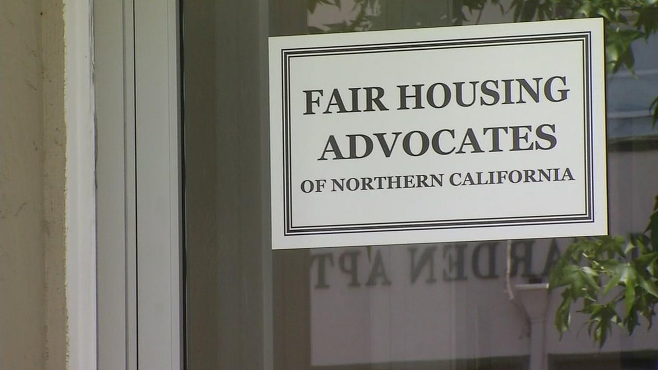 A sign appears in the window of the Fair Housing Advocates of the Bay Area office on Monday, May 8, 2017.