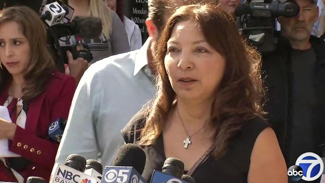 Marlene LaMar speaks outside the courthouse in San Jose, Calif. on Tuesday, May 9, 2017 after the verdict was read in the disappearance and death of her daughter.