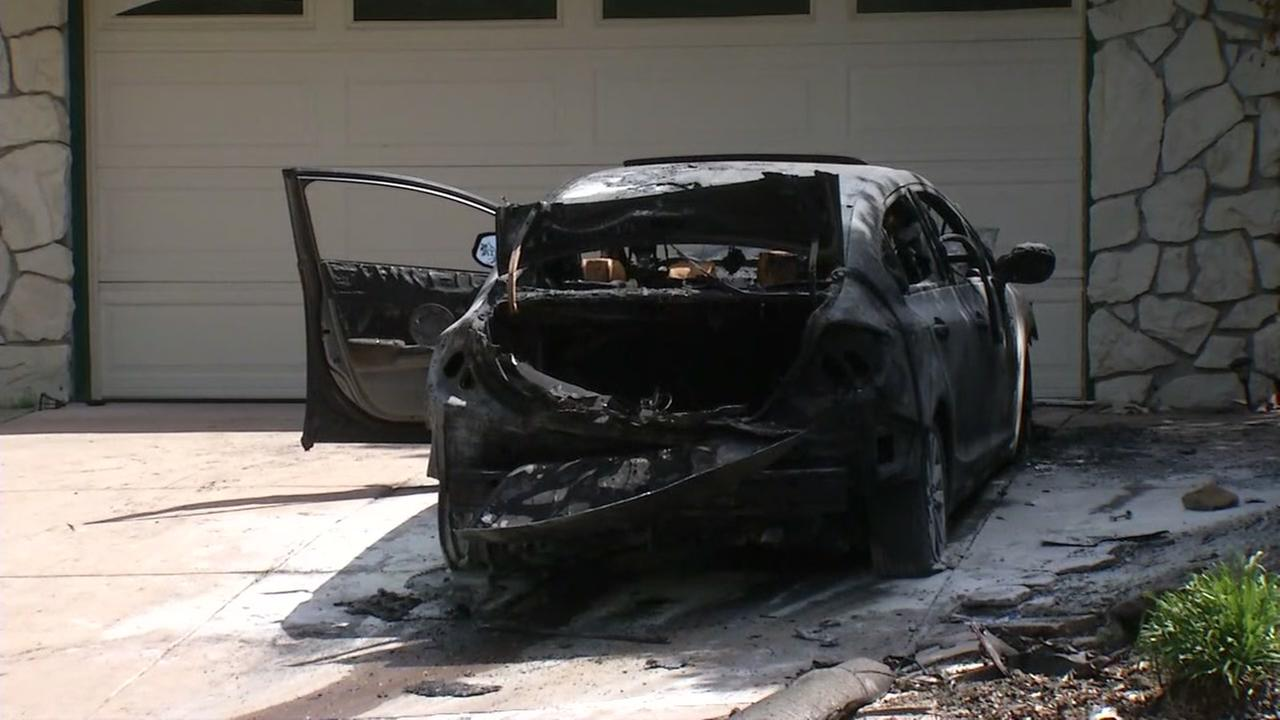 A car was set on fire on Leroy Street in Walnut Creek, Calif. on Wednesday, May 10, 2017.