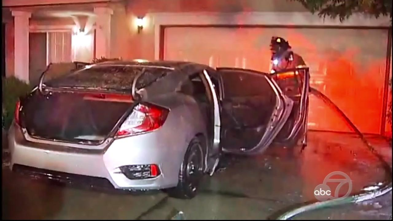 Car fire in Brentwood, California, Thursday, May 11, 2017.