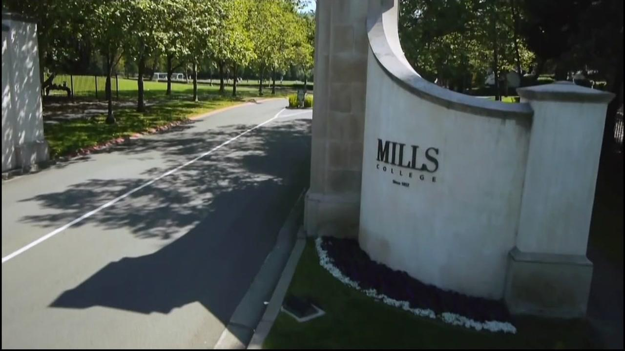 This is an undated image of the entrance to Mills College in Oakland, Calif.