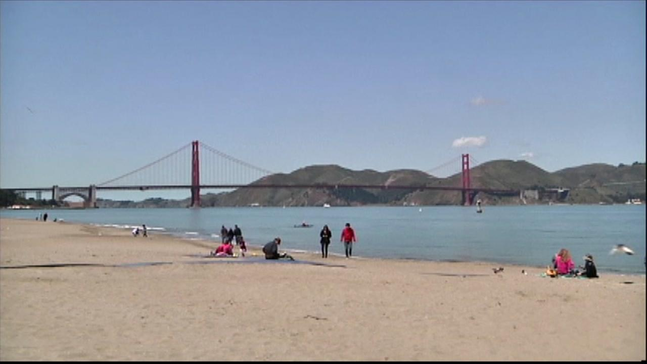 The Golden Gate Bridge is seen from a beach in San Francisco in this undated image.
