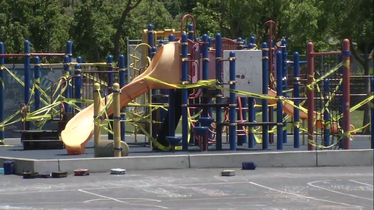 A play structure at a school in San Jose, Calif. was shut down after a possible norovirus outbreak in this photo taken on Wednesday, May 17, 2017.