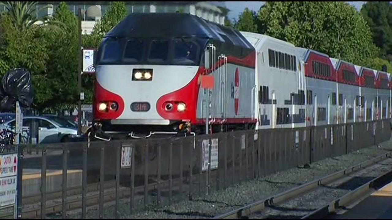 A Caltrain moves across the tracks in this file photo.