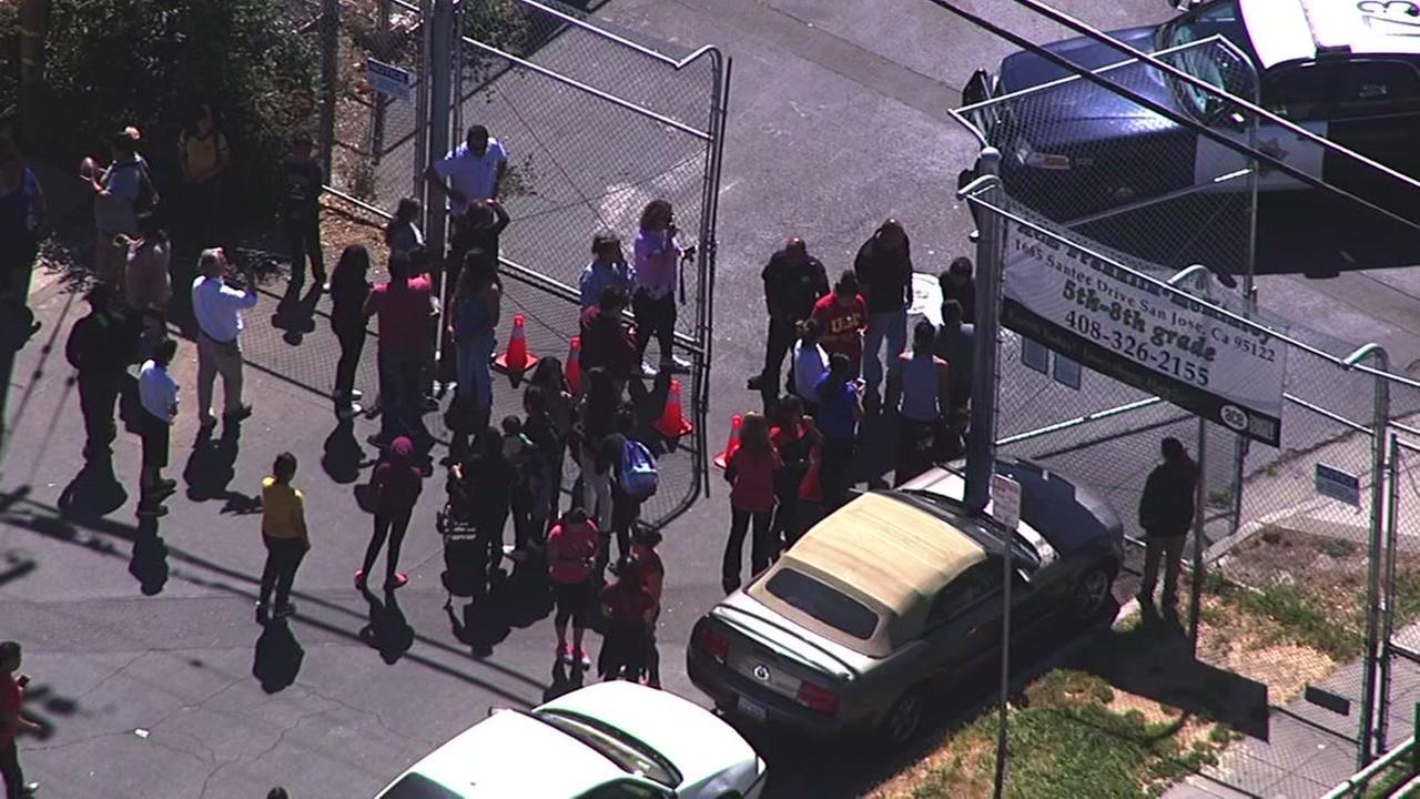 A school in San Jose, Calif. was evacuated on Friday, May 19, 2017 after a possible explosive device was discovered in a backpack.