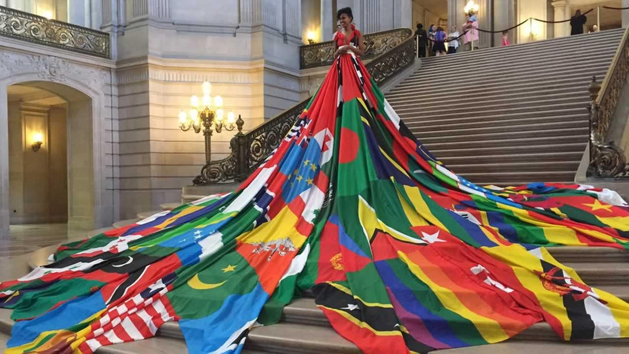 The Amsterdam Rainbow Dress was on display at San Francisco City Hall on Monday, May 22, 2017.