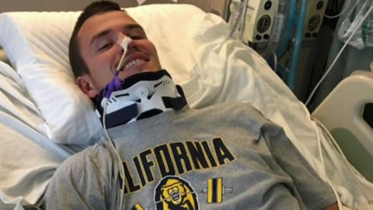 The hospital provided ABC7 News with this new picture of Cal rugby player Robert Paylor resting in bed on Tuesday, May 23, 2017.