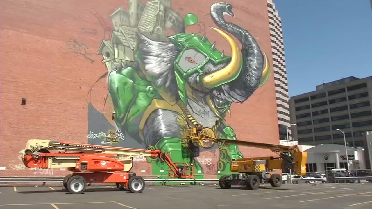 This is an undated image of a mural in Oakland, Calif. featuring an elephant.