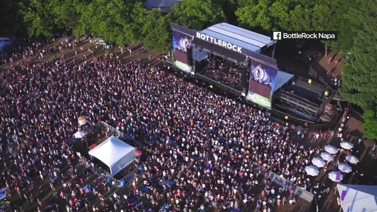 This is an undated aerial image of the BottleRock Napa music festival.