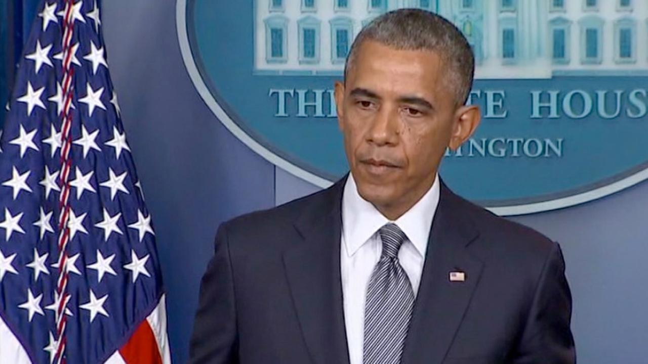 President Obama speaks at the White House.