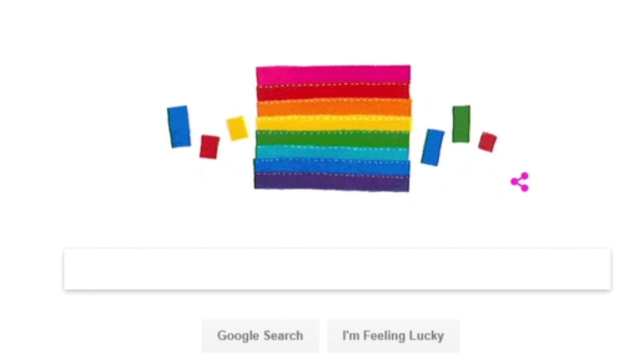 This Google Doodle honoring Gilbert Baker appeared on the Google search engine on June, 2, 2017.