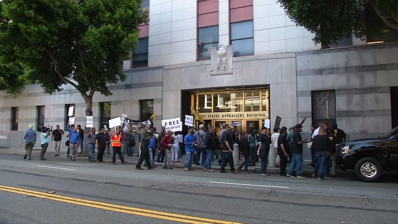 Protesters demonstrate in front of  San Franciscos immigration building on Monday, June 5, 2017.
