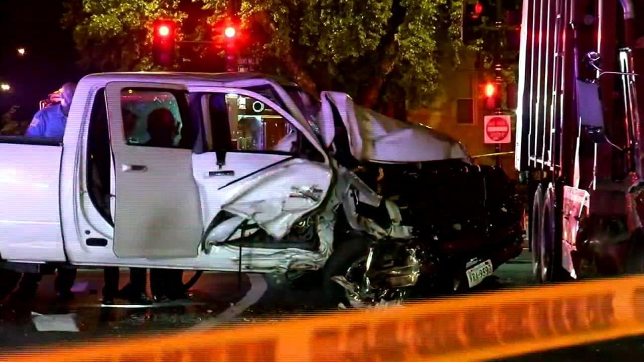 A smashed truck appears in a Washington intersection after injuring five, including two police officers on Thursday, June 8, 2017.