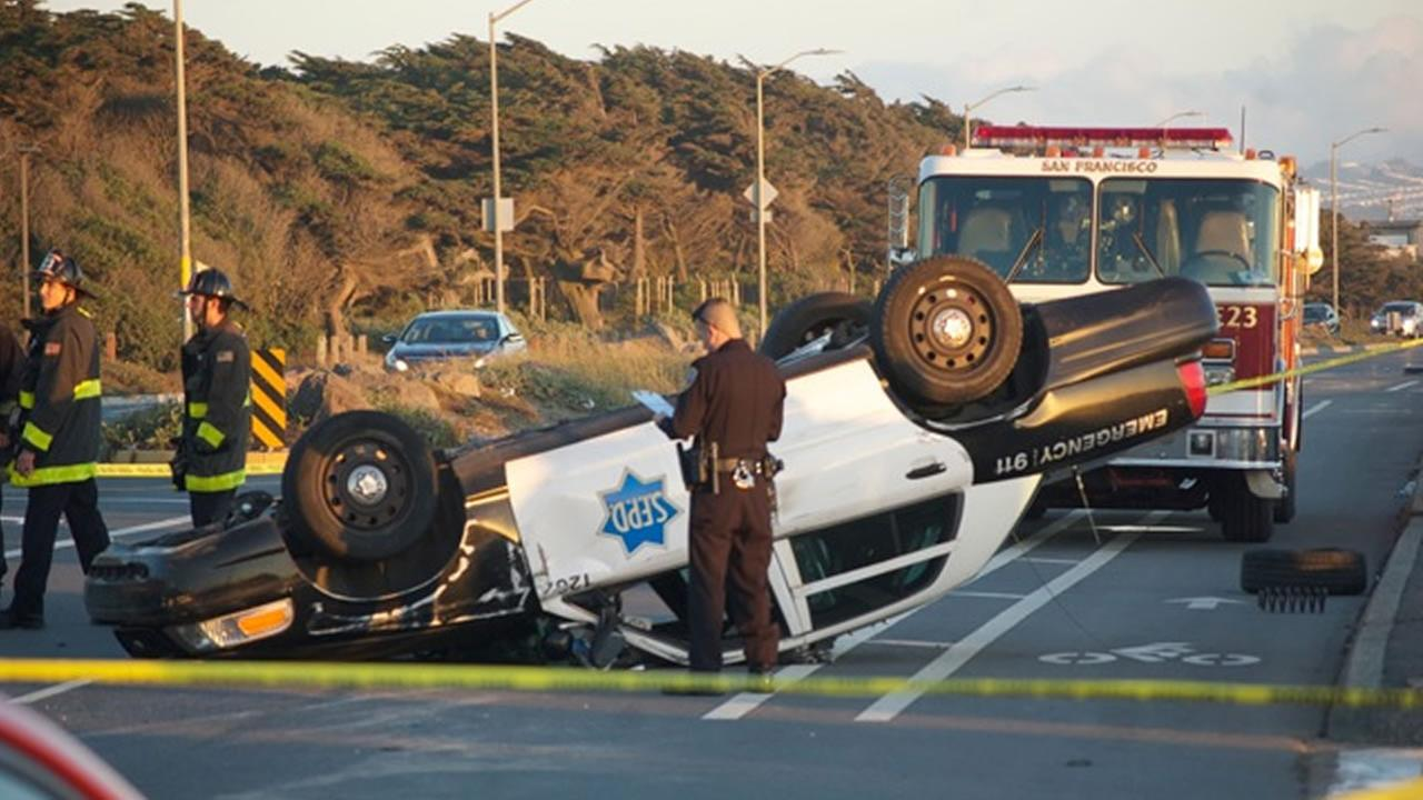 Two San Francisco police officers were hurt in after a collision in their patrol car on the Great Highway near the citys Richmond  District.
