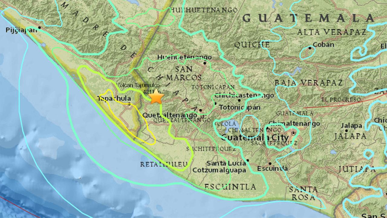 Magnitude 6.9 earthquake shakes Guatemala near Mexico border, Wednesday, June 14, 2017.