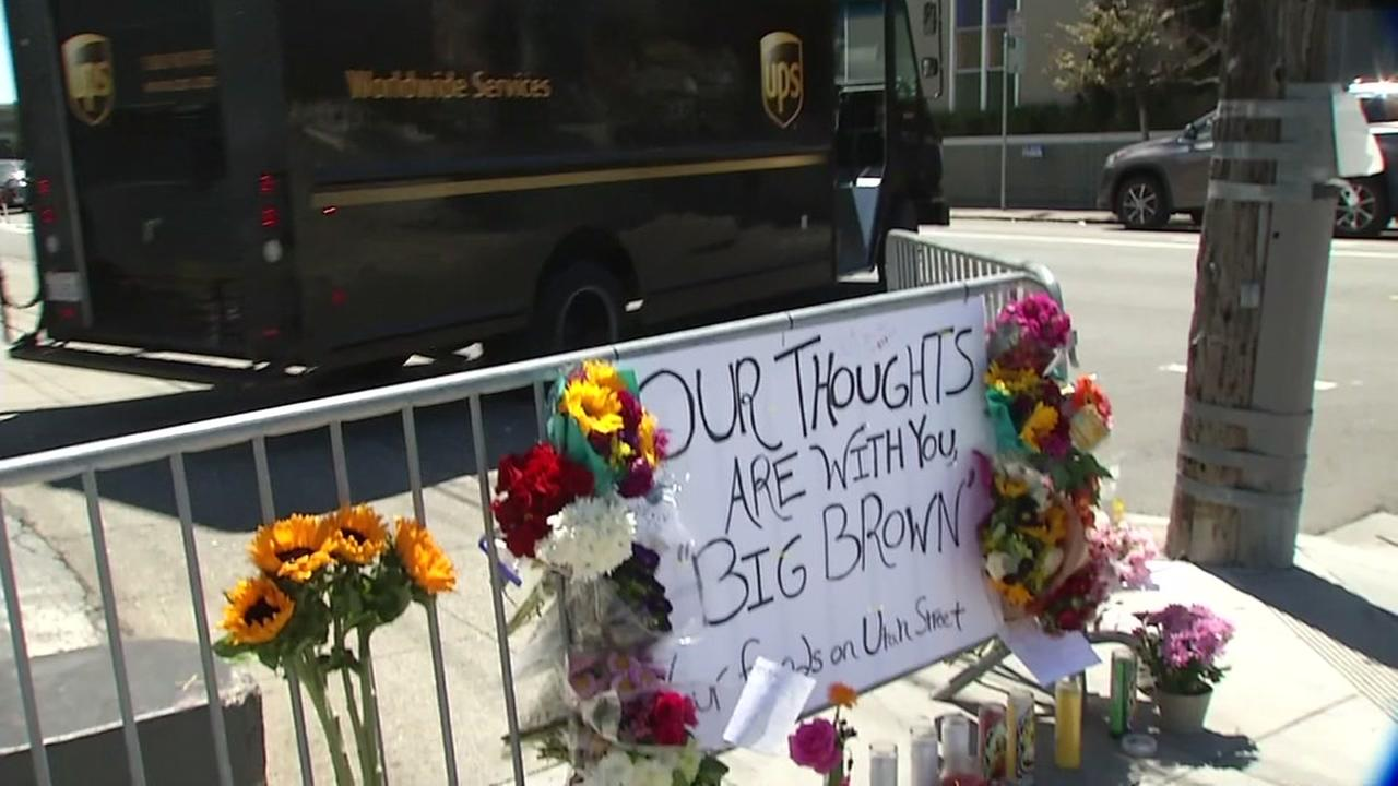 A memorial for three UPS employees who were killed in a shooting at a UPS facility in San Francisco are seen on Thursday, June 15, 2017.