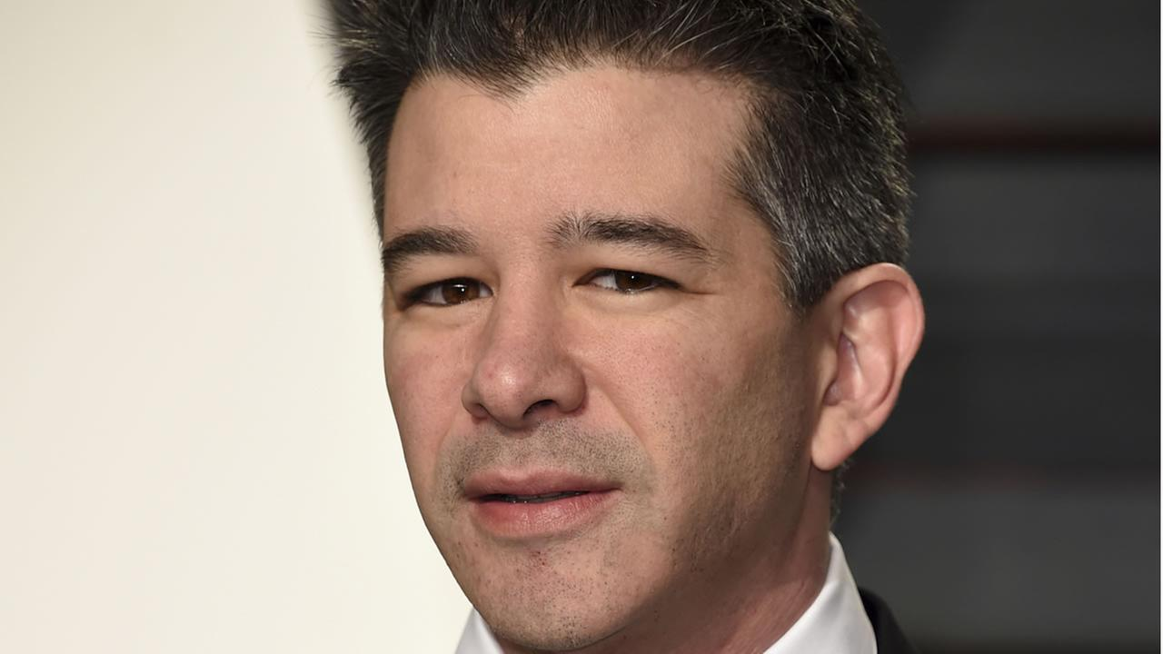 In this Sunday, Feb. 26, 2017, file photo, Uber CEO Travis Kalanick arrives at the Vanity Fair Oscar Party in Beverly Hills, Calif.