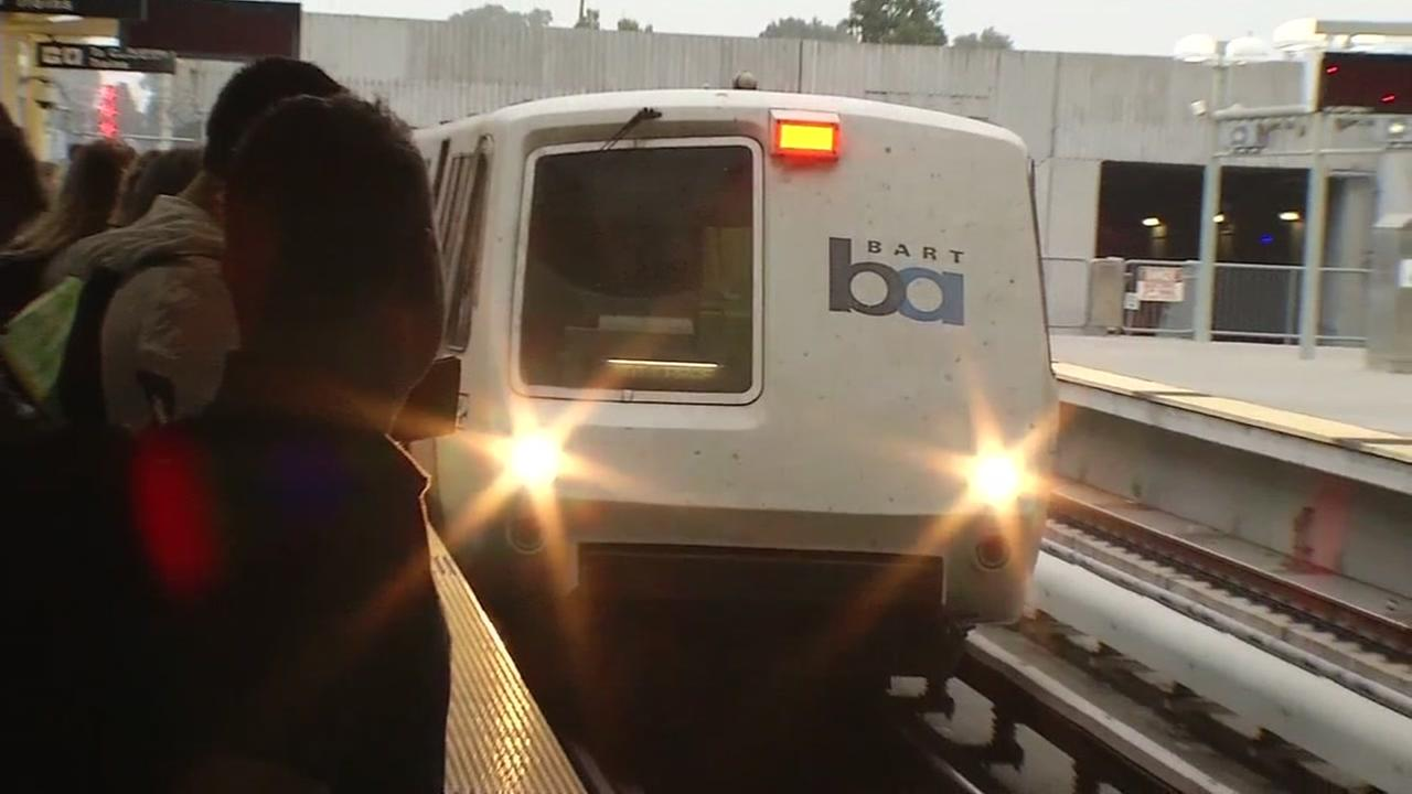A BART train is seen in San Francisco in this undated image.