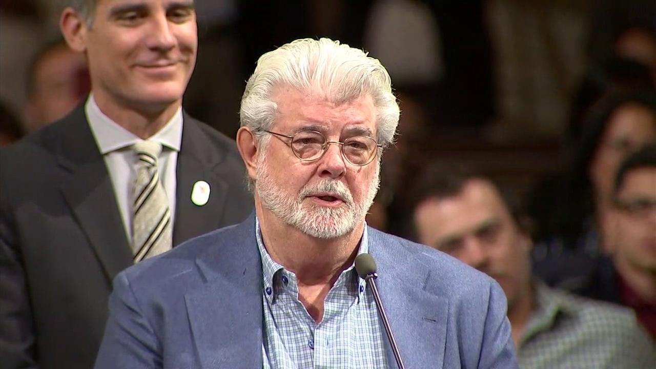 George Lucas addresses the Los Angeles City Council on Tuesday, June 27, 2017, as Mayor Eric Garcetti looks on.