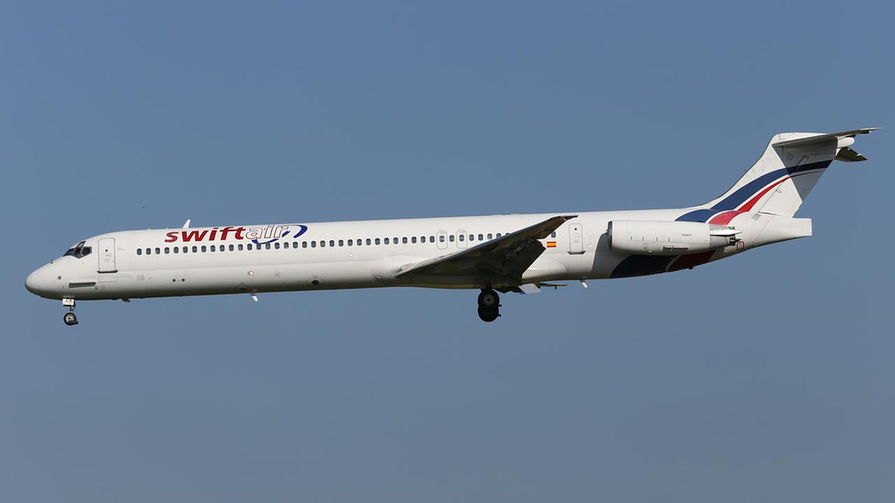 This photo taken on Friday, May 16, 2014 shows an MD-83 aircraft in the livery of Swiftair landing at Zaventem Airport Brussels. (AP Photo/Kevin Cleynhens)
