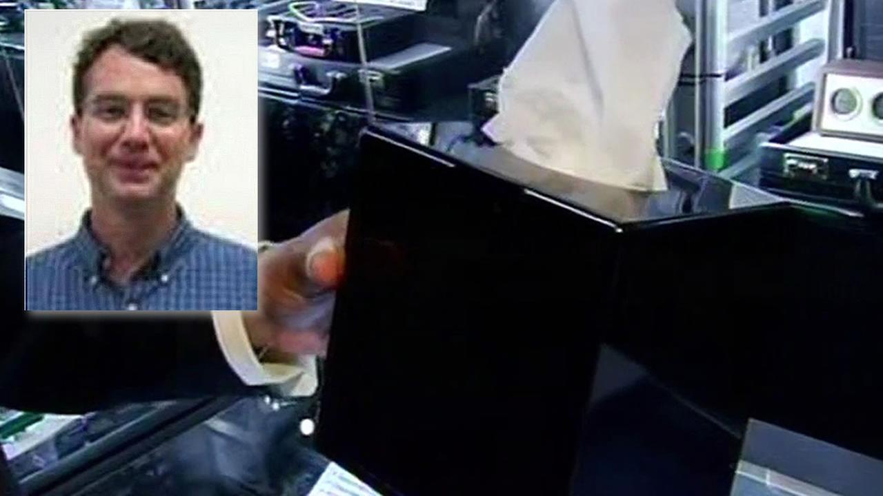 Professor Mark Landis and a tissue box with a hidden camera inside